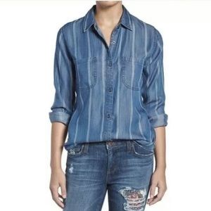 Rails Chambray Vertical Stripe Dark Vintage Top M